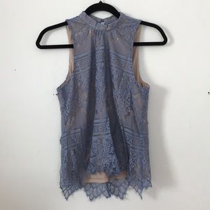 LC Lauren Conrad High neck Purple/blue lace top
